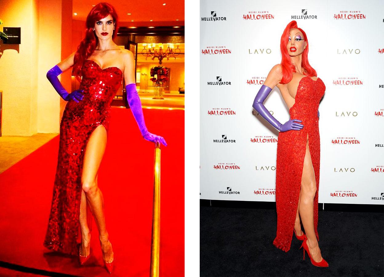 As modelos Alessandra Ambrósio e Heidi Klum como Jessica Rabbit